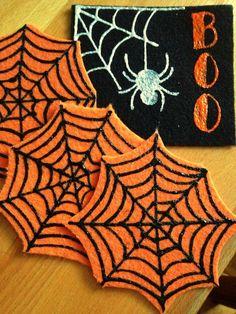 DIY Felt Coasters : DIY Easy Felt Halloween Coasters Felt Coasters, Diy Coasters, Felt Diy, Felt Crafts, Sewing Material, Halloween Felt, Favorite Holiday, Diy Tutorial, Making Out