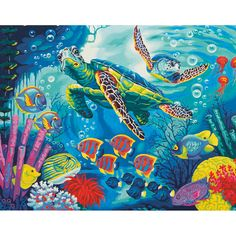 Paint By Number Kit: Sea Turtles. Dimensions brings you paint kits that are fun and quick to paint. With their color mixing you will achieve the subtle tones that make their designs look so realistic.