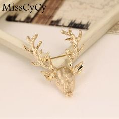 MissCyCy 2016 New Hot Unisex Animal Christmas Popular Cute Gold Color Deer Antlers Head Pin Brooches #Affiliate