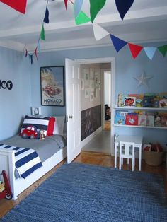 Bedroom:Blue Rugs Blue Wall Paint Colors Laminate Wood Wall Rack White Small Table White Small Chairs White Wood Bed Laminate Wooden Flooring Wicker Basket Blue And White Striped Blanket The Interesting Kids Bedroom Decor