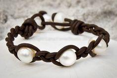 Freshwater pearls and leather bracelet - leather and pearl bracelet - pearl leather bracelet - organic bracelet -Dryada. $55.00, via Etsy.