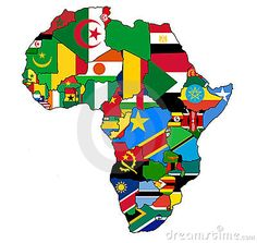 Political map of Africa with country flags