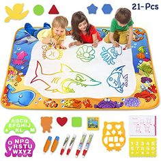 Toyk Aqua Magic Mat - Kids Painting Writing Doodle Board Toy - Color Doodle Drawing Mat Bring Magic Pens Educational Toys for Age 1 2 3 4 5 6 7 8 9 10 11 12 Year Old Girls Boys Age Toddler Gift gifts for kids# Present kids educational gift# Little Girl Toys, Toys For Girls, Little Girls, Best Toddler Toys, Toddler Gifts, Kids Gifts, Learning Toys For Toddlers, Kids Toys, Aqua