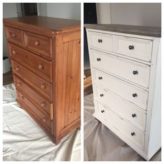 Old white, slightly distressed. Paris grey, old white and dark wax top.