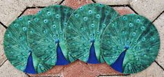 Peacock Coasters by RoseWestPhoto on Etsy