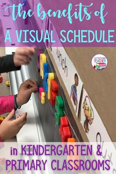 I have used a visual schedule in my kindergarten classroom for years, because of the many benefits to my students and me personally. Here are the highlights! #teaching #kindergarten #primary #visuals #earlylearning #thatfunreadingteacher