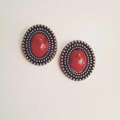 Vintage red stone earrings