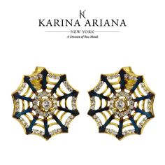 Web Earrings with Burnt Detailing and CZ Accents KAE-B602 $105 #KarinaAriana #sterlingsilver #Ember #Passion #fashion #jewelry #earrings
