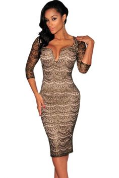 Black Gold Shimmer Nude Illusion Padded Midi Dress - OASAP.com