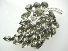 Vintage D & E Rhinestone Leaf Brooch by zoeJaneJewels1 on Etsy, $35.00