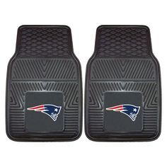These New England Patriots Heavy-Duty Vinyl Car Mats feature deep pockets and ridges to collect any debris you may track into your vehicle. A vivid Patriots logo on each mat shows your team spirit. Vinyl construction allows them to be hosed off for easy upkeep. Available for all 32 NFL teams.