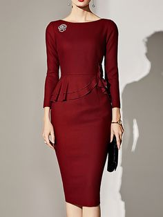 Buy Party Dresses Midi Dresses For Women from SWChic at Stylewe. Online Shopping Stylewe Cocktail Dresses Long Sleeve Party Dresses Work Bodycon Bateau/boat Neck Ruffled Elegant Dresses, The Best Work Midi Dresses. Discover unique designers fashion at sty Elegant Midi Dresses, Sexy Dresses, Evening Dresses, Casual Dresses, Fashion Dresses, Dresses For Work, Party Dresses, Formal Dresses, Summer Dresses