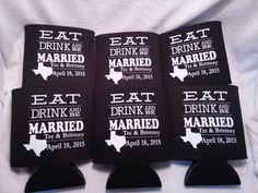 Eat Drink and Be Married Koozie Wedding by odysseycustomdesigns