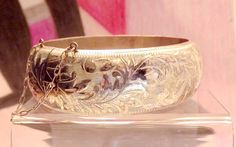Sterling Silver Heavy Vintage Bangle Cuff by EclairJewelry on Etsy