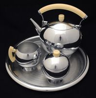 1930's Chase DECO Comet Tea Set, Chrome Plated with Bakelite Handles by Walter Von Nessen