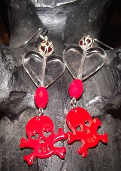 Red Skeleton Heart Earrings by reddirtroseokc on Etsy