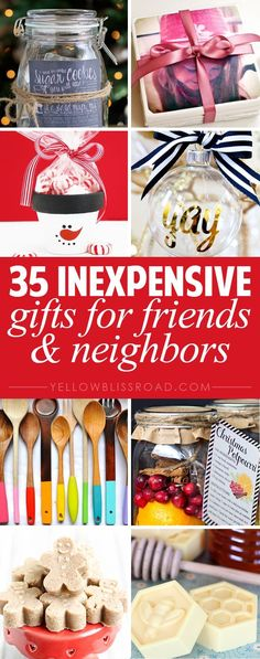 35 Inexpensive Gifts for Friends & Neighbors Budget gift ideas and simple homemade Christmas gifts; perfect for giving Christmas gifts to friends, neighbors, co-workers and teachers. Diy Gifts For Christmas, Christmas Crafts, Christmas Ideas, Inexpensive Coworker Christmas Gifts, Coworker Gift Ideas, Diy Christmas Gifts For Coworkers, Homemade Xmas Gifts, Homemade Gifts For Friends, Christmas Jewelry