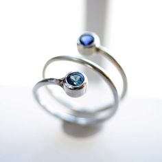 Dual BirthStone Ring with a twist! mom gift. couples gift. his hers. $104 #studiojewel - womens turquoise jewelry, discount womens jewelry, jewelry womens rings