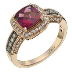 LeVian 14CT Strawberry Gold 0.33CT Diamond & Rhodalite Ring - Ernest Jones want