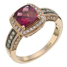 LeVian 14CT Strawberry Gold 0.33CT Diamond & Rhodalite Ring- Ernest Jones want