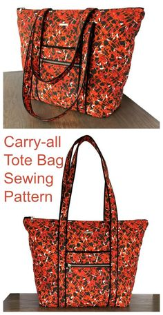 Carry-all Tote Bag sewing pattern - Sew Modern Bags Diy Bags Patterns, Handbag Patterns, Sewing Patterns, Diy Tote Bag, Tote Bags, Diy Bag Designs, Diy Bags Purses, Tote Pattern, Quilted Bag