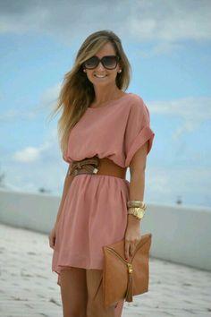 Vestido rosa palo