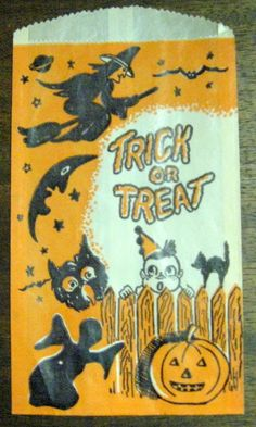 HARD TO FIND VINTAGE TRICK OR TREAT BAG WITCH MOON STARS OWL GHOST CAT JOL