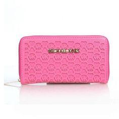 Michael Kors Logo Perforated Large Pink Wallets