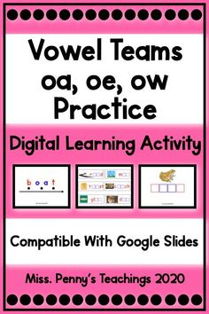 Visit my Teachers Pay Teachers store to access this digital learning activity on vowel teams. Compatible with Google Slides and Google Classroom. Phonics Activities, Interactive Activities, Learning Activities, Teaching Resources, Classroom Resources, Reading Words, 3rd Grade Classroom, Google Classroom, Teaching Reading