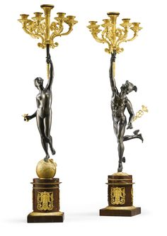 A pair of bronze, gilt-bronze and rouge griotte marble candelabra attributed to Galle Empire, first quarter 19th century | Lot | Sotheby's