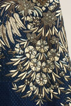 Stunning and sumptuous embroidery detail of Court suit Frockcoat, late 18th–early 19th century, French, silk, metallic thread, paste (c) Metropolitan Museum of Art.
