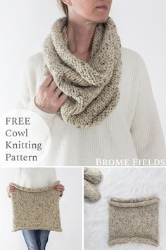 {FREE} LETTING GO : Women's Cowl Knitting Pattern Grab this FREE Beginner Cowl Knitting Pattern that's easy to modify to fit your style. If you're looking for a relaxing pattern this is a great meditation, therapy knitting pattern. Outlander Knitting Patterns, Easy Knitting Patterns, Loom Knitting, Knitting Stitches, Hand Knitting, Diy Knitting Projects, Infinity Scarf Knitting Pattern, Knitting Ideas, Easy Projects