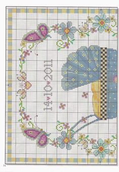 "Photo from album ""Point de Croix on Yandex. Baby Cross Stitch Patterns, Cross Stitch For Kids, Cute Cross Stitch, Cross Stitch Borders, Cross Stitch Samplers, Counted Cross Stitch Kits, Cross Stitch Flowers, Cross Stitch Charts, Cross Stitch Designs"