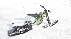 Snowbike kit for the Surron X electric motorcycle from SNOWBIKE LLC. No equivalent in the world. Easy to install on the Surron family of motorcycles. No special skills or tools required. The kit turns the Surron into a lightweight snowmobile. You will be able to use your Surron in winter on snow up to 50 cm deep. Get new emotions from your bike. Bike, Snow, Motorcycles, Electric, Deep, Tools, Winter, Easy, Bicycle