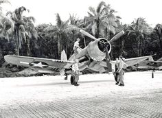 F4U-1A Corsair of Marine Squadron VMF-216 at Torokina, Bougainville, Solomon Islands, December 1943.