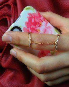 Gold Pave Double Chain Ring <3