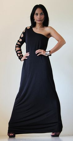 Long Black Dress Funky Tube Evening Gown  Elegant by Nuichan, $55.00