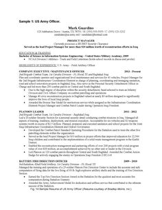 Military Engineer Sample Resume Experience Summary  10 Years Human Resources Junior Management .