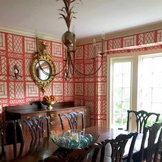 Young family home remodel-new trad dining room Quadrille - china seas wallpaper