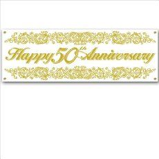 50th Anniversary Sign Banner Party Accessory (1 count) (1/Pkg)