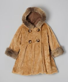 Take a look at this Caramel Crushed Fur Mary Jayne Coat - Infant, Toddler & Girls by Corky & Company on #zulily today!