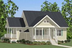 Compact Cottage with Country Kitchen - 46267LA thumb - 01 House Plans One Story, House Plans And More, Best House Plans, Small House Plans, House Floor Plans, Cottage House Plans, Cottage Homes, Beach Cottage Style, Beach House