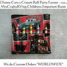 Disney Cars 2 Crayon Roll Party Favour by MrsCraftyRVing on Etsy, $2.00