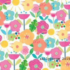 Bright fun summer floral #surfacepattern #pattern #floral #flowers #summer #kidsdesign #design #illustration