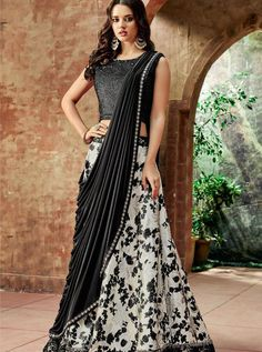 White Printed for Evening Party is Jacquard Silk Lehenga and Velvet and Lycra Having Beautiful Sequins embroidery Work. This Crop Lehenga is Evening Party, Birthday Party wear. Indian Lehenga, Silk Lehenga, Black Lehenga, Lehenga Blouse, Tie Blouse, Indian Party Wear, Indian Bridal Wear, Choli Designs, Lehenga Designs