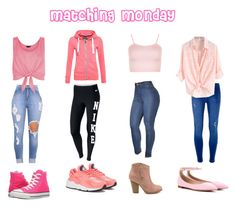 """Matching Monday"" by copperperro ❤ liked on Polyvore featuring New Look, WearAll, NIKE, Dorothy Perkins, Superdry, Converse and Gianvito Rossi"