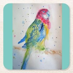 Rosella Parrot bird art Watercolor Paper Coasters Watercolor Birthday Cards, Parrot Bird, Tropical Birds, Watercolor Bird, Photo Craft, Plant Design, Brighten Your Day, Custom Greeting Cards, Bird Art