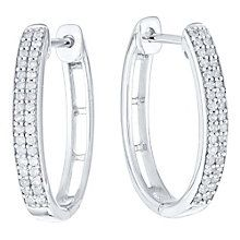 9ct White Gold 1/5 Carat Diamond Set Hoop Earrings - Product number 4762339