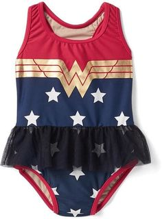 babyGap   Wonder Woman tulle swim one-piece The world is ready for you and all the wonders you can do. So adorable!! Afflink.