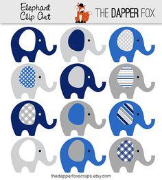 Azul marino y gris elefante Clip Art por TheDapperFoxScraps